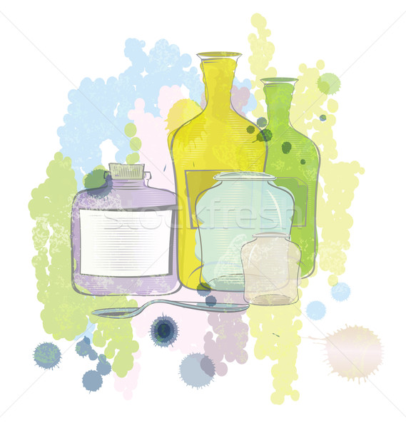 Water color jars and bottles vector Stock photo © Zebra-Finch