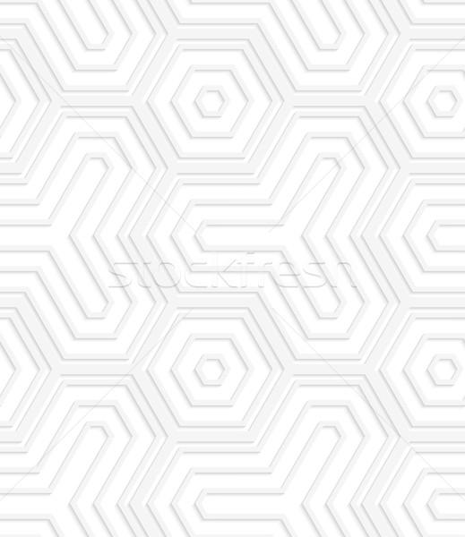3D white striped hexagons and hexagonal triangles Stock photo © Zebra-Finch
