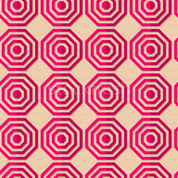 Retro fold pink striped octagons Stock photo © Zebra-Finch
