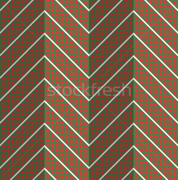 Retro fold red dotted chevron Stock photo © Zebra-Finch