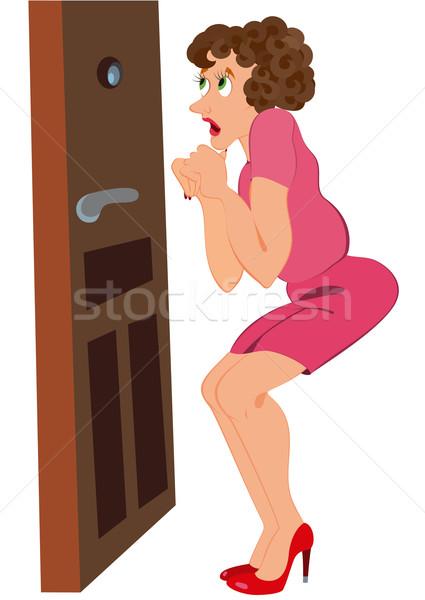 Rajz nő áll ijedt ajtó illusztráció Stock fotó © Zebra-Finch