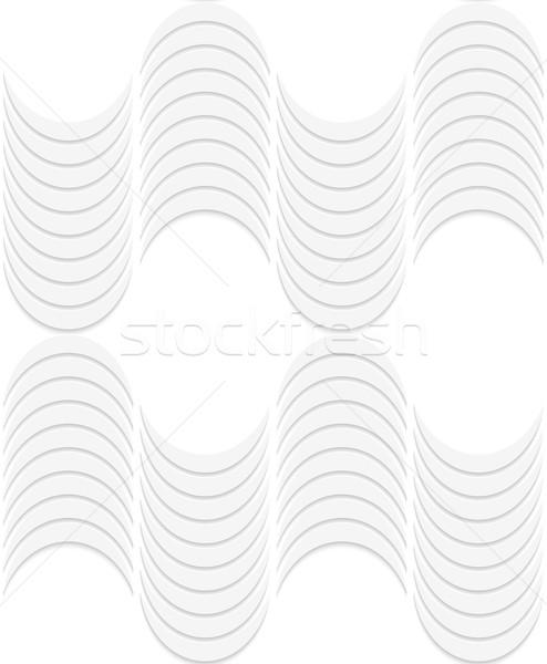 Stok fotoğraf: 3D · beyaz · çizgili · dalgalar · geometrik · desen