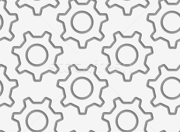 単純な 歯車 輪郭 現代 幾何学的な ストックフォト © Zebra-Finch