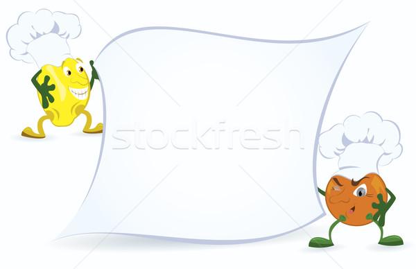 Citrom narancs szakács sapka tart promóció tábla Stock fotó © Zebra-Finch