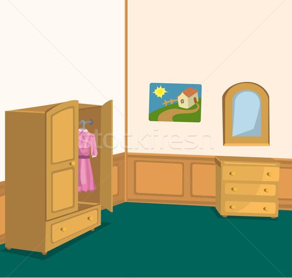 Retro szoba ruhásszekrény illusztráció belső faliszekrény Stock fotó © Zebra-Finch