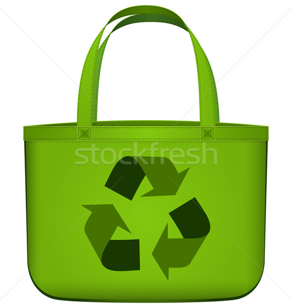 Green reusable bag with recycling symbol vector Stock photo © Zebra-Finch