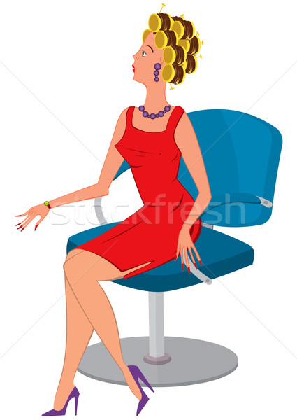 Cartoon  woman in red dress and hair rollers Stock photo © Zebra-Finch