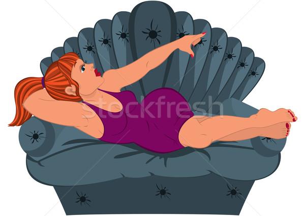 Cartoon mujer púrpura vestido sofá ilustración Foto stock © Zebra-Finch