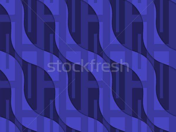 Retro 3D blue wavy with rectangles Stock photo © Zebra-Finch