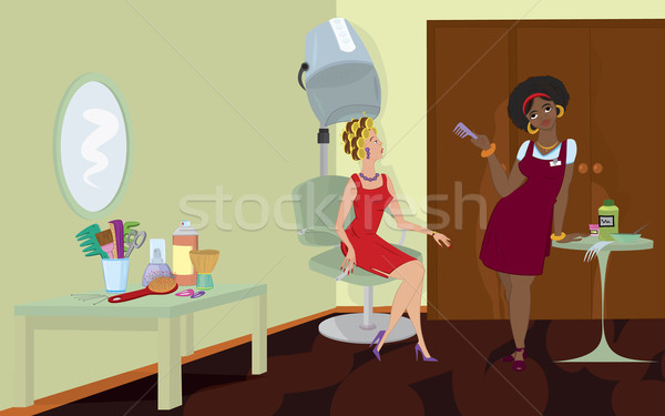Beauty salon client sitting under hair dryer stand Stock photo © Zebra-Finch