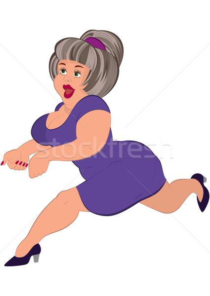 Cartoon tłuszczu kobieta siwe włosy uruchomiony ilustracja Zdjęcia stock © Zebra-Finch