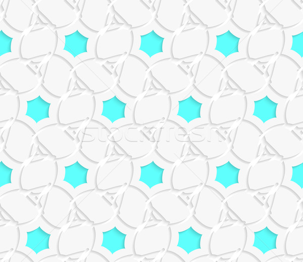 White 3d perforated layered with blue hexagons ornament Stock photo © Zebra-Finch