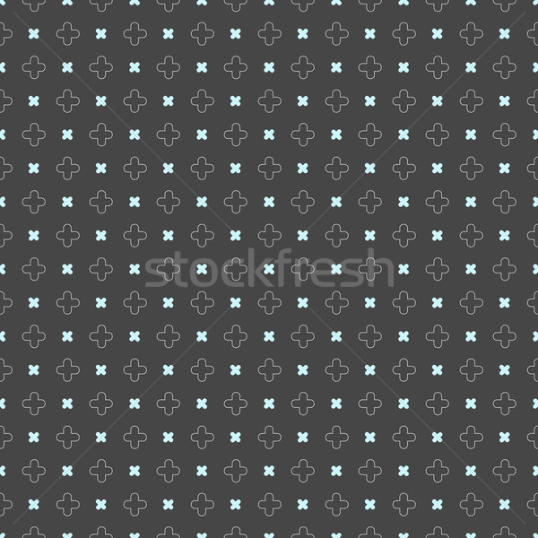 Colored geometrical pattern with blue cross shapes on dark gray Stock photo © Zebra-Finch