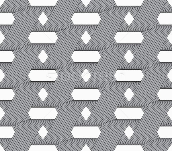 Stock photo: Ribbons forming horizontal overlapping loops pattern