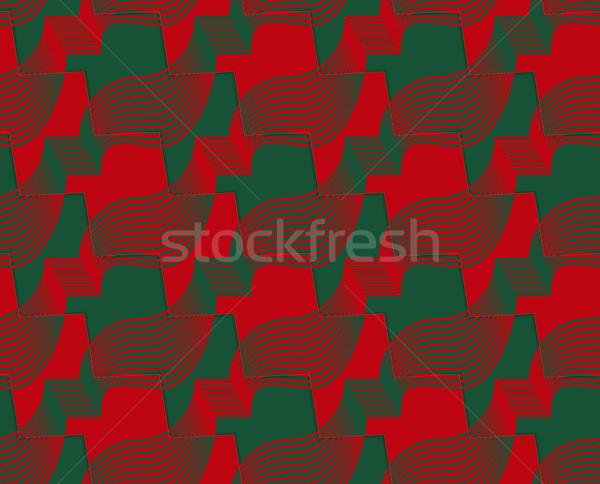 Retro 3D kırmızı yeşil zikzak kesmek Stok fotoğraf © Zebra-Finch