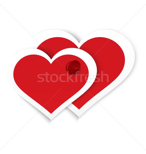 Heart stickers push pinned vector Stock photo © Zebra-Finch