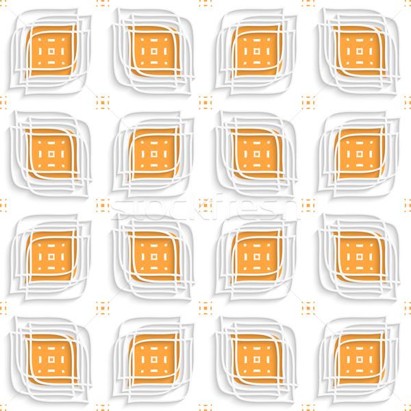 White linear leaves layered on orange seamless Stock photo © Zebra-Finch