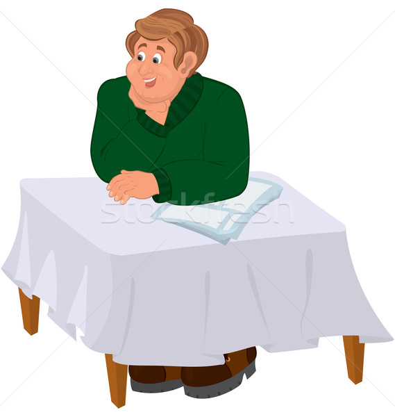 Boldog rajz férfi ül asztal illusztráció Stock fotó © Zebra-Finch