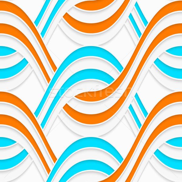 White embossed interlocking waves with blue and orange Stock photo © Zebra-Finch