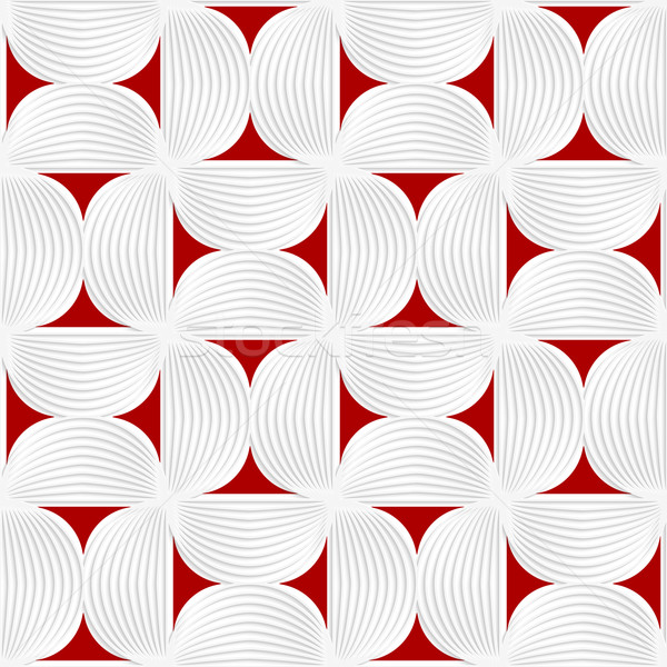 3D white striped semi circles with red Stock photo © Zebra-Finch