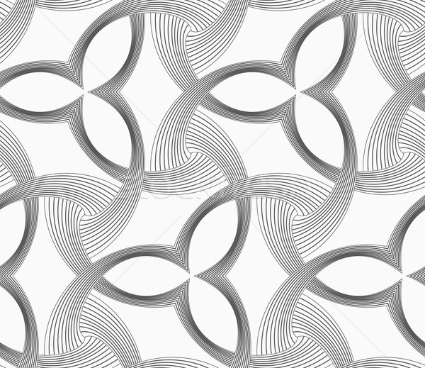Stock photo: Monochrome three pedal flowers with striped triangles