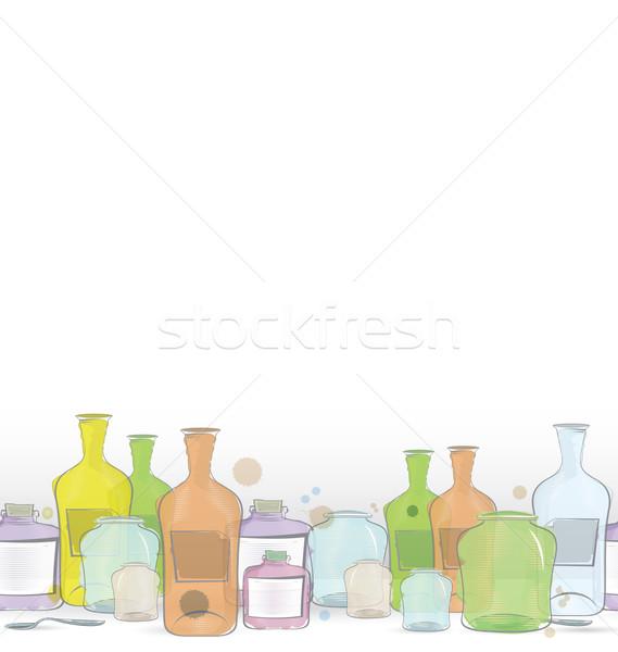 Water color jars border vector Stock photo © Zebra-Finch