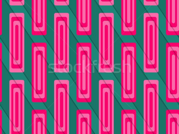 Retro 3D zöld rózsaszín vág réteges Stock fotó © Zebra-Finch