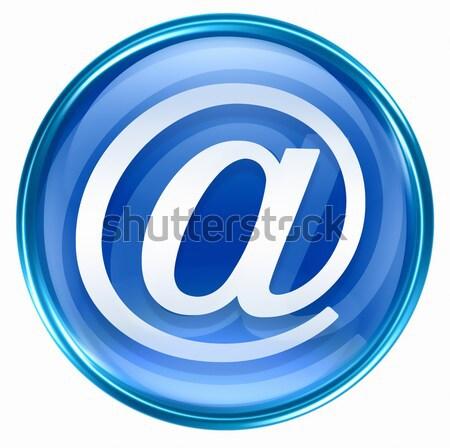 Stockfoto: E-mail · symbool · Blauw · geïsoleerd · witte · kantoor