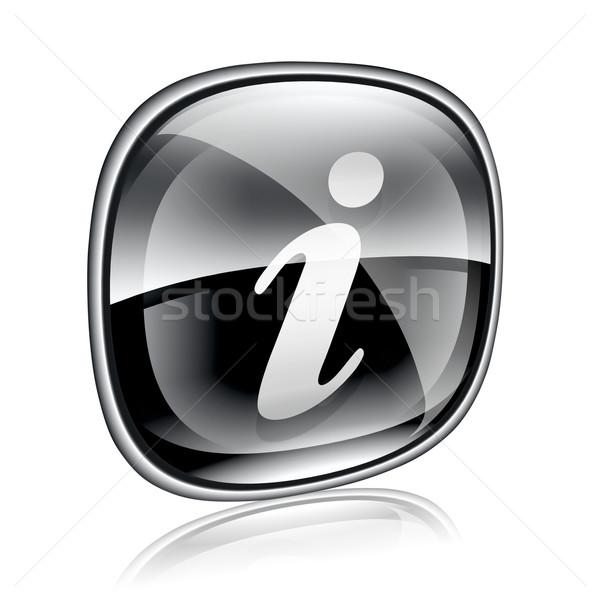 information icon black glass, isolated on white background Stock photo © zeffss