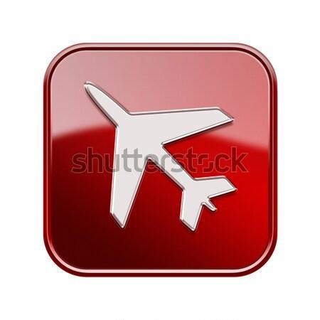 Stock fotó: Repülőgép · ikon · piros · izolált · fehér · fény
