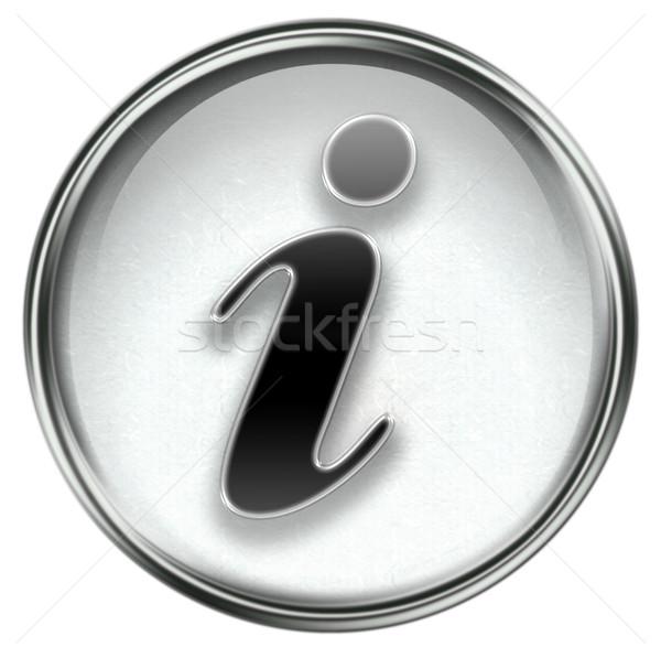 Informatie icon grijs geïsoleerd witte licht Stockfoto © zeffss