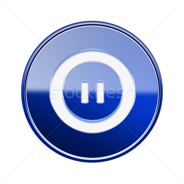 Pause icon glossy blue, isolated on white background Stock photo © zeffss