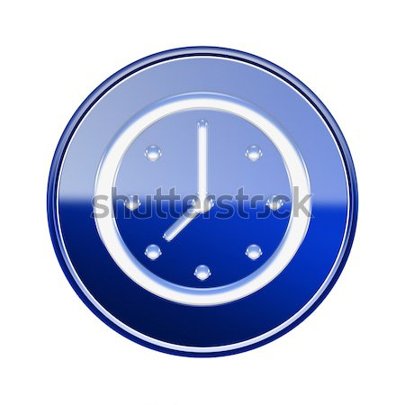 Clock icon glossy blue, isolated on white background Stock photo © zeffss