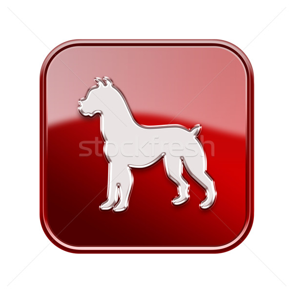 Dog Zodiac icon red, isolated on white background. Stock photo © zeffss