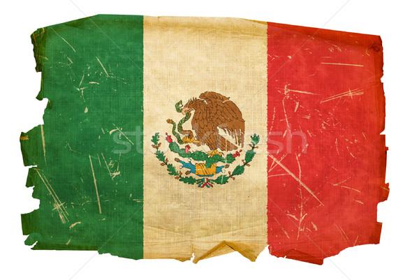 Stock fotó: Mexikó · zászló · öreg · izolált · fehér · terv