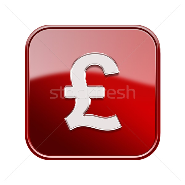Pound icon glossy red, isolated on white background Stock photo © zeffss