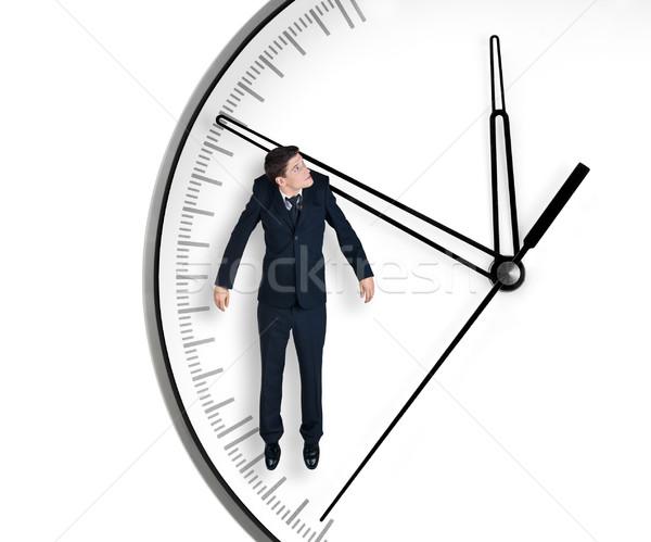 Empresario flecha reloj aislado blanco trabajo Foto stock © zeffss