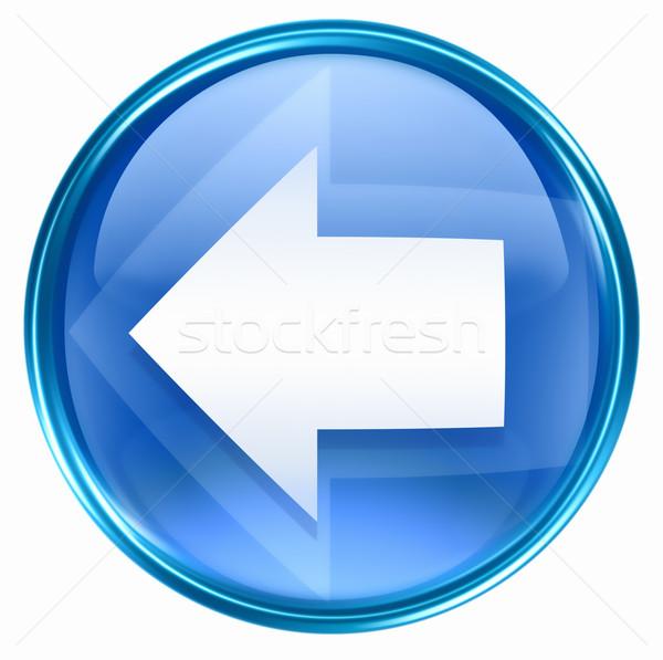 Pijl icon Blauw geïsoleerd witte ontwerp Stockfoto © zeffss