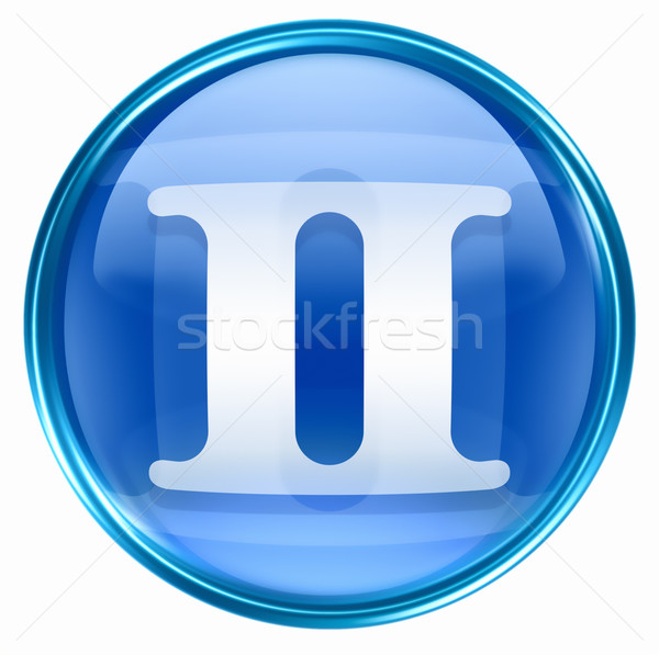 Gemini zodiac button icon, isolated on white background. Stock photo © zeffss
