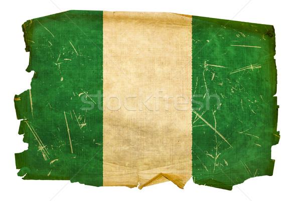 Nigéria bandeira velho isolado branco pintura Foto stock © zeffss
