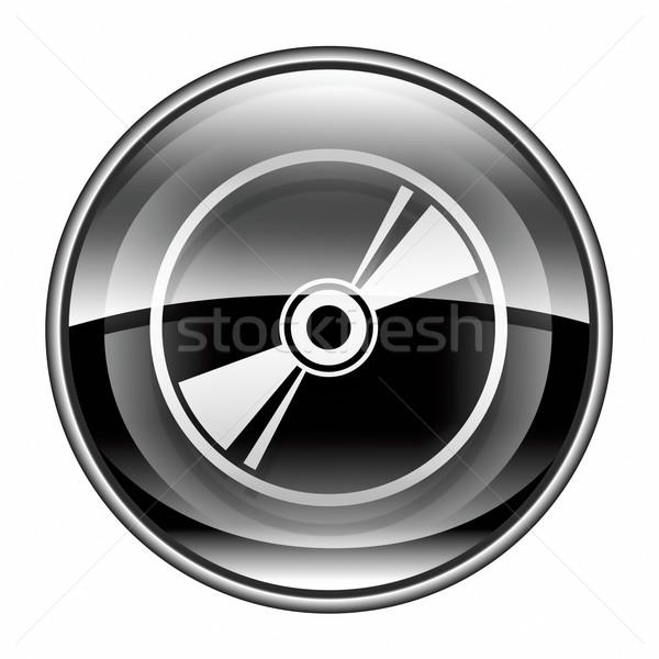 CD ikon fekete izolált fehér felirat Stock fotó © zeffss