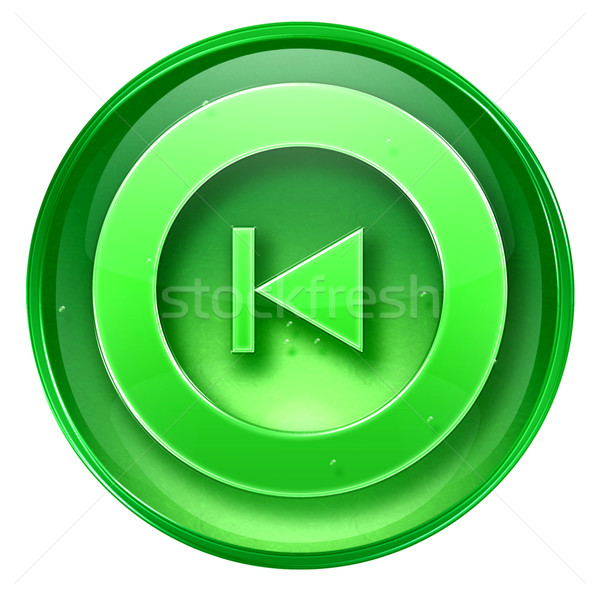 Rewind Back icon green, isolated on white background.  Stock photo © zeffss