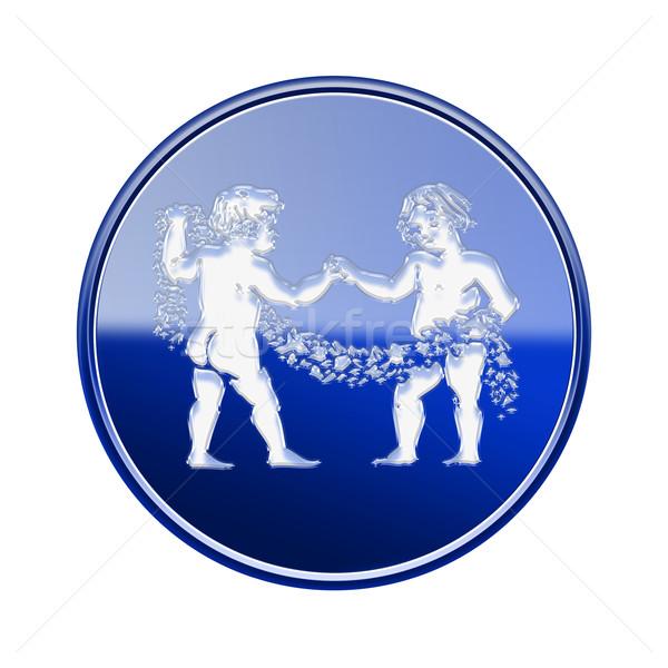 Gemini zodiac icon blue, isolated on white background Stock photo © zeffss