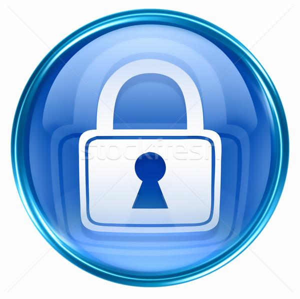 Trancar ícone azul isolado branco internet Foto stock © zeffss
