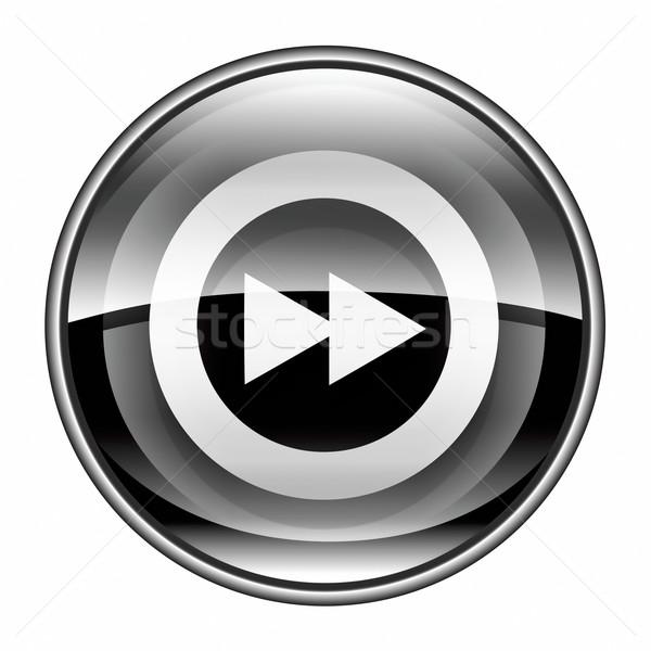 Rewind Forward icon black, isolated on white background. Stock photo © zeffss