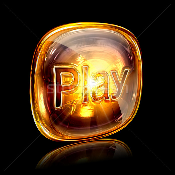 Oynamak ikon kehribar yalıtılmış siyah bilgisayar Stok fotoğraf © zeffss