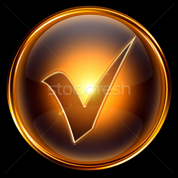 Check icon golden. Stock photo © zeffss