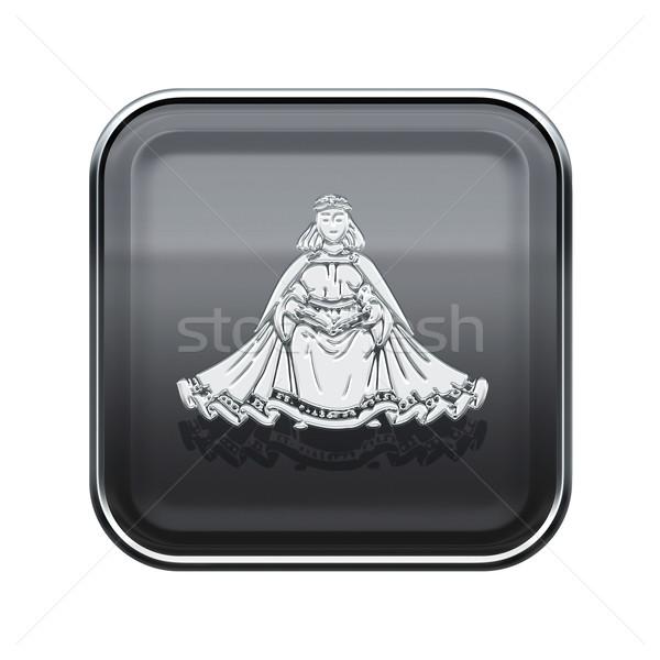 Stock photo: Virgo zodiac icon grey, isolated on white background