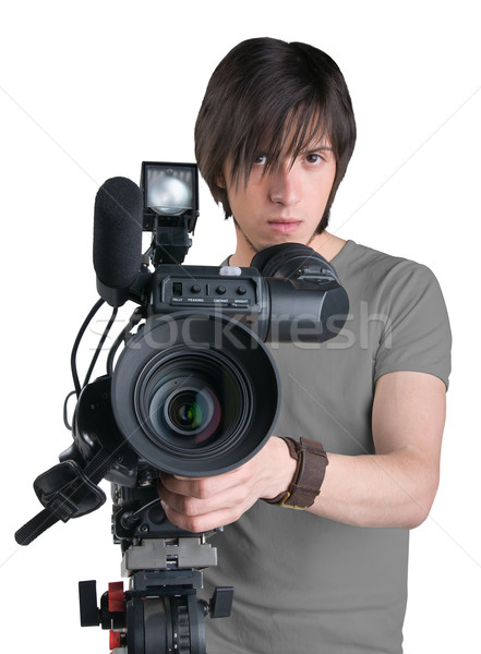 Cameraman, isolated on white background Stock photo © zeffss