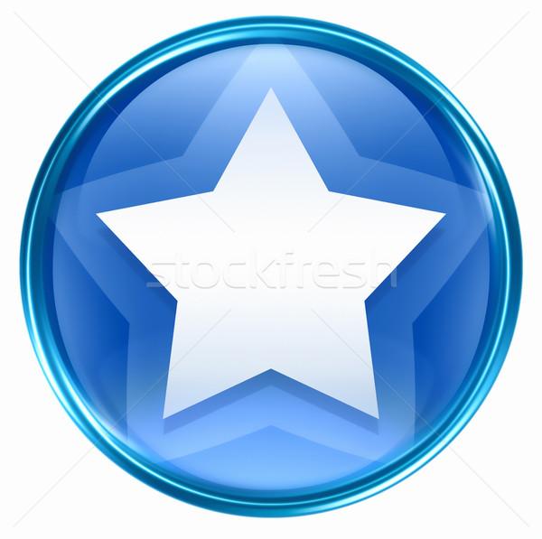 Stockfoto: Star · icon · Blauw · geïsoleerd · witte · web